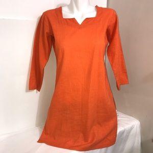 Shenaai Vibrant Summery Orange Abstract Neck Dress